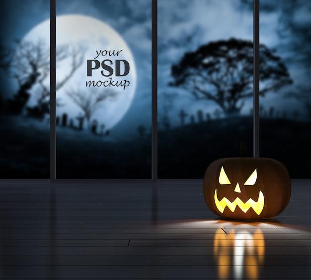 Imagen de renderizado 3d de cabeza de calabaza en el cuarto oscuro con maqueta de vista de ventana
