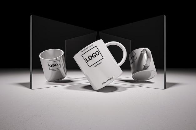 Imagen de maqueta de representación 3d de taza de café con leche