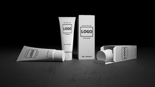 Imagen de maqueta de representación 3d de tubos de espuma blanca y cajas.