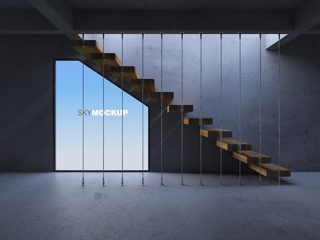 Imagen de renderizado 3d de escalera de hormigón con sombra en la pared