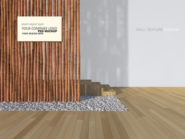 Imagen de renderizado 3d de signo en la pared de bambú