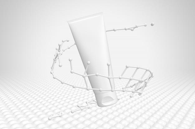 Imballaggio cosmetico molecola di mockup