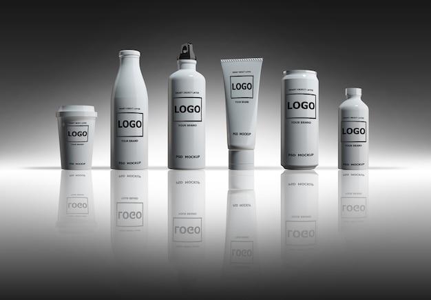 Immagine del modello della rappresentazione 3d delle bottiglie e delle latte bianche