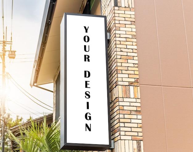 Immagine del modello di manifesti di schermo bianco cartellone bianco e led storefront esterno per la pubblicità