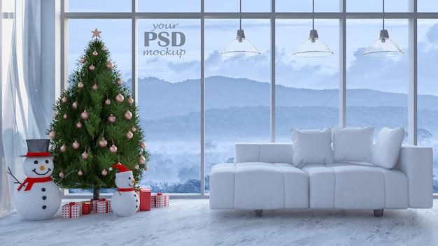 Immagine della rappresentazione 3d del salone nel giorno di natale