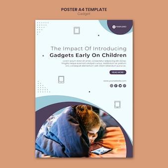 Impacto de gadget en plantilla de póster para niños