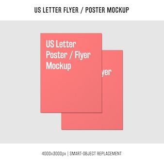 Impilati lettera di volantino o poster mockup