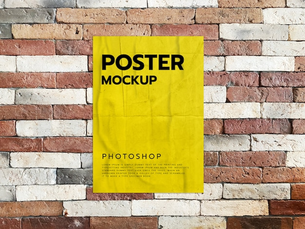 Imprimir maqueta de póster en pared de ladrillo realista
