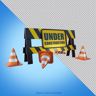 In aanbouw met verkeerskegels 3d render
