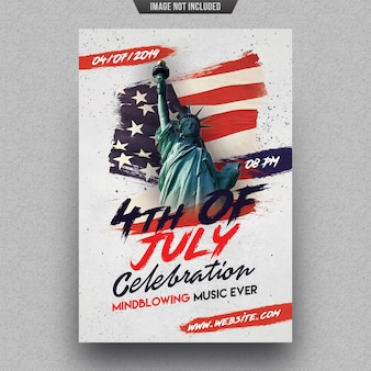 Independence day party flyer sjabloon