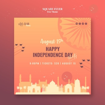 Independence day vierkante flyer stijl
