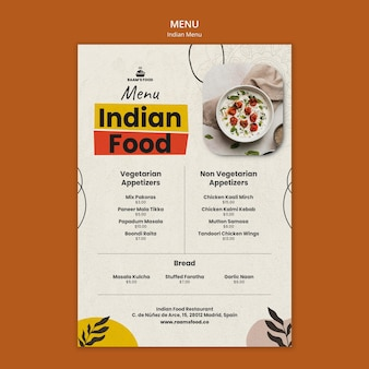 Indiaas eten menu ontwerpsjabloon