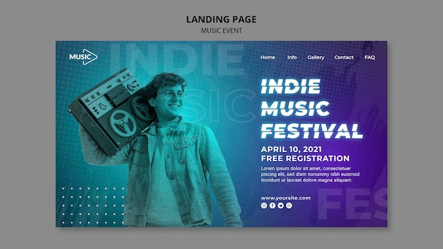 Indie muziekfestival bestemmingspagina sjabloon