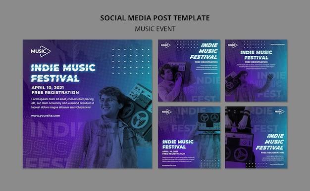 Indie muziekfestival instagram-berichten
