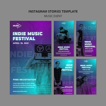 Indie muziekfestival instagram-verhalen