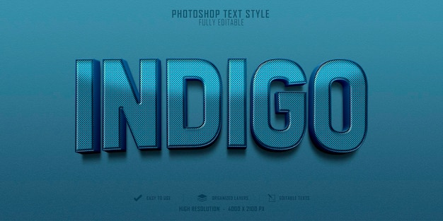 Indigo 3d tekststijleffect sjabloonontwerp
