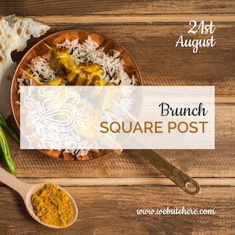 Indisch voedsel vierkante berichtsjabloon
