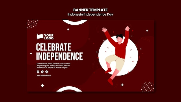 Indonesië onafhankelijkheidsdag banner concept sjabloon