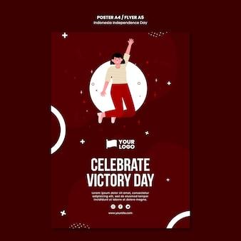 Indonesië onafhankelijkheidsdag flyer concept sjabloon