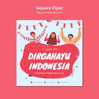Indonesië onafhankelijkheidsdag flyer stijl