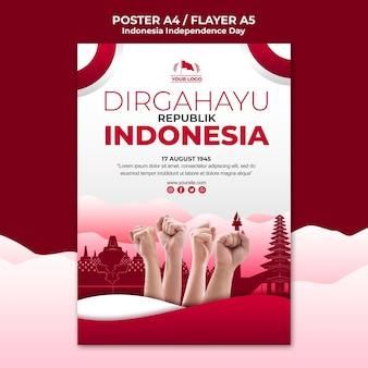 Indonesië onafhankelijkheidsdag poster sjabloon