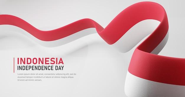 Indonesië onafhankelijkheidsdag zwaaien lint vlag banner sjabloon