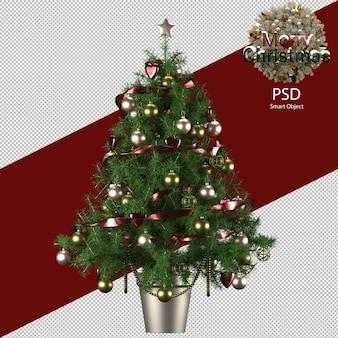 Indoor kerstboom decoratie in bronzen pot geïsoleerd
