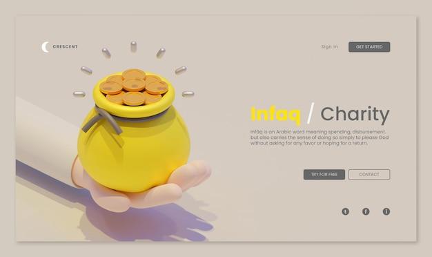 Infaq charity-bestemmingspagina-sjabloon met 3d-weergave van een zakje goud bij de hand