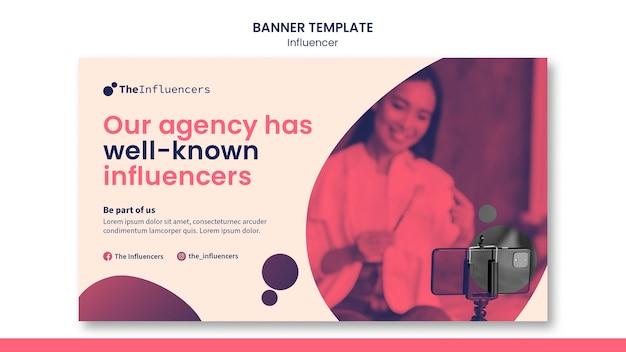 Influencer banner sjabloonontwerp