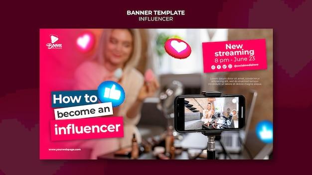 Influencer-bannersjabloon met foto