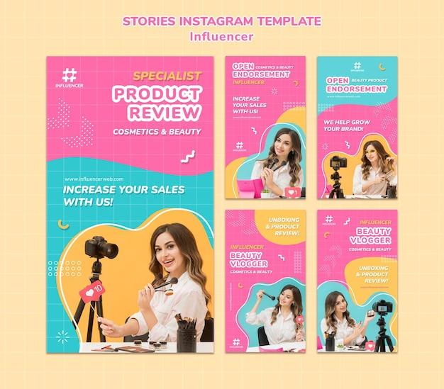 Influencer instagram verhalen sjabloon