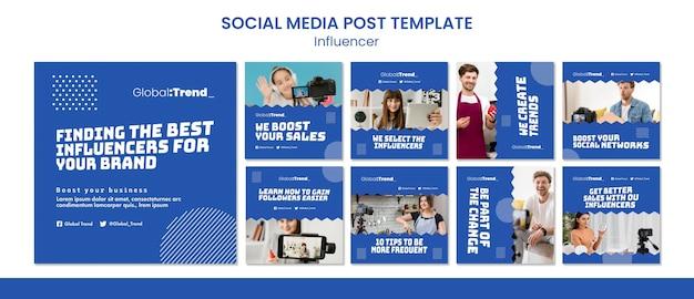 Influencer social media postsjabloon