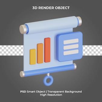 Informe de datos 3d render aislado psd premium
