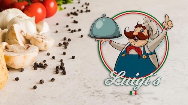 Ingredienti alimentari italiani del primo piano con logo