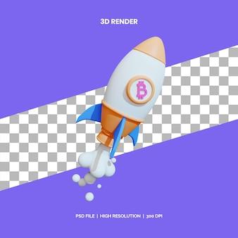 Inicio de bitcoin de renderizado de iconos 3d