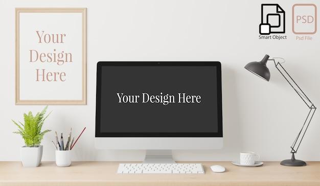 Inicio cartel interior maqueta con marco en el escritorio de trabajo y fondo de pared blanca. representación 3d