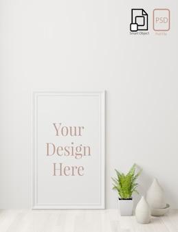 Inicio cartel interior maqueta con marco en el piso y fondo de pared blanca. representación 3d