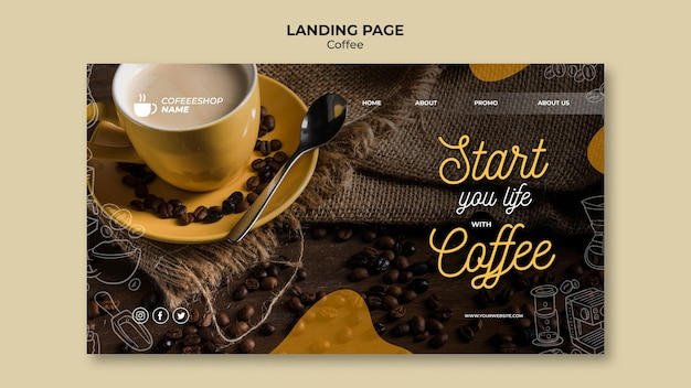 Inizia la tua vita con la pagina di destinazione del caffè