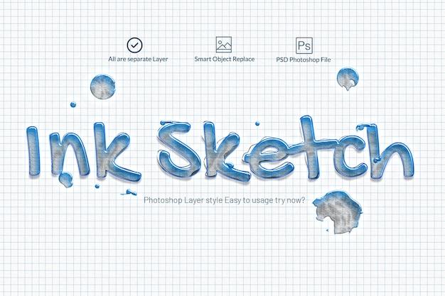 Ink sketch photoshop efecto de texto