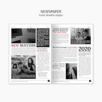 Innerlijke dubbele pagina's krant en interessante verhalen