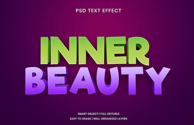 Innerlijke schoonheid teksteffect sjabloon