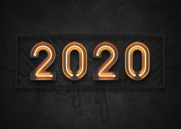 Insegna al neon del 2020 felice anno nuovo