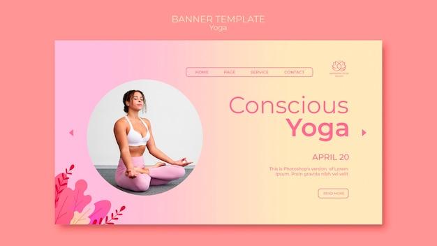 Insegna di lezioni di yoga con la foto della donna