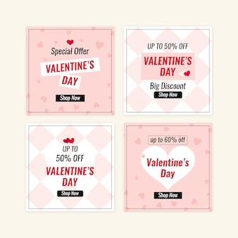 Insieme dell'insegna di vendita di san valentino