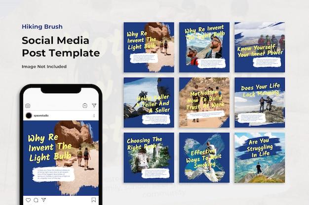 Insieme della raccolta della posta di instagram della spazzola di viaggio della montagna