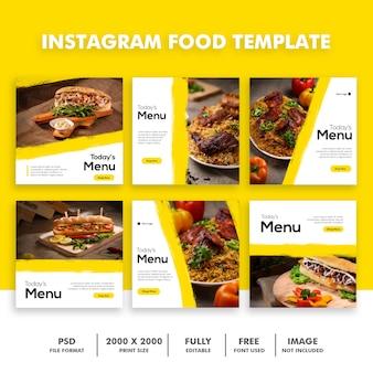 Insieme di modelli di cibo instagram post