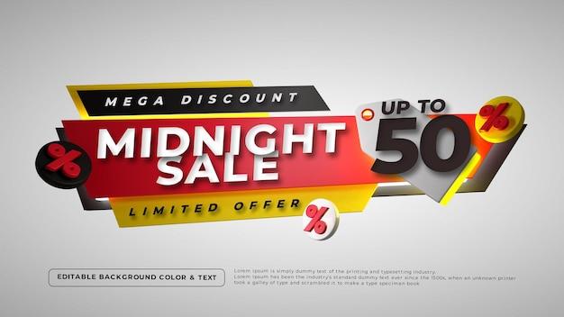 Insignia de venta de medianoche colorida 3d