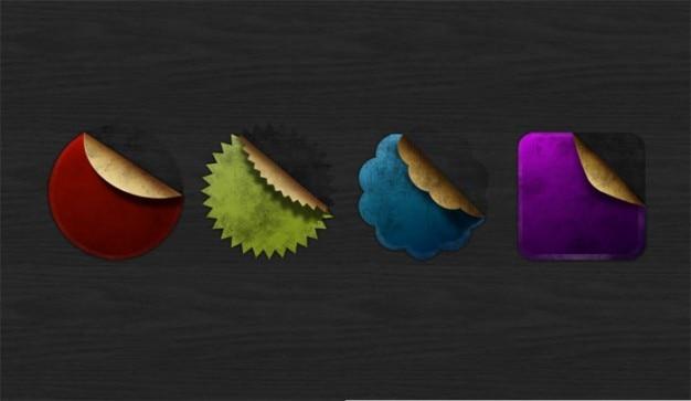 Insignias de colores con ángulo de balanceo