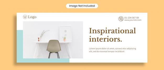 Inspirerende interieurs facebook omslagsjabloon