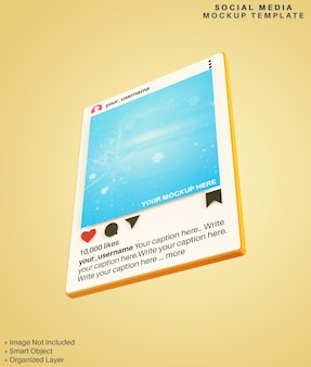 Instagram-apps sociale media plaatsen 3d-mockup